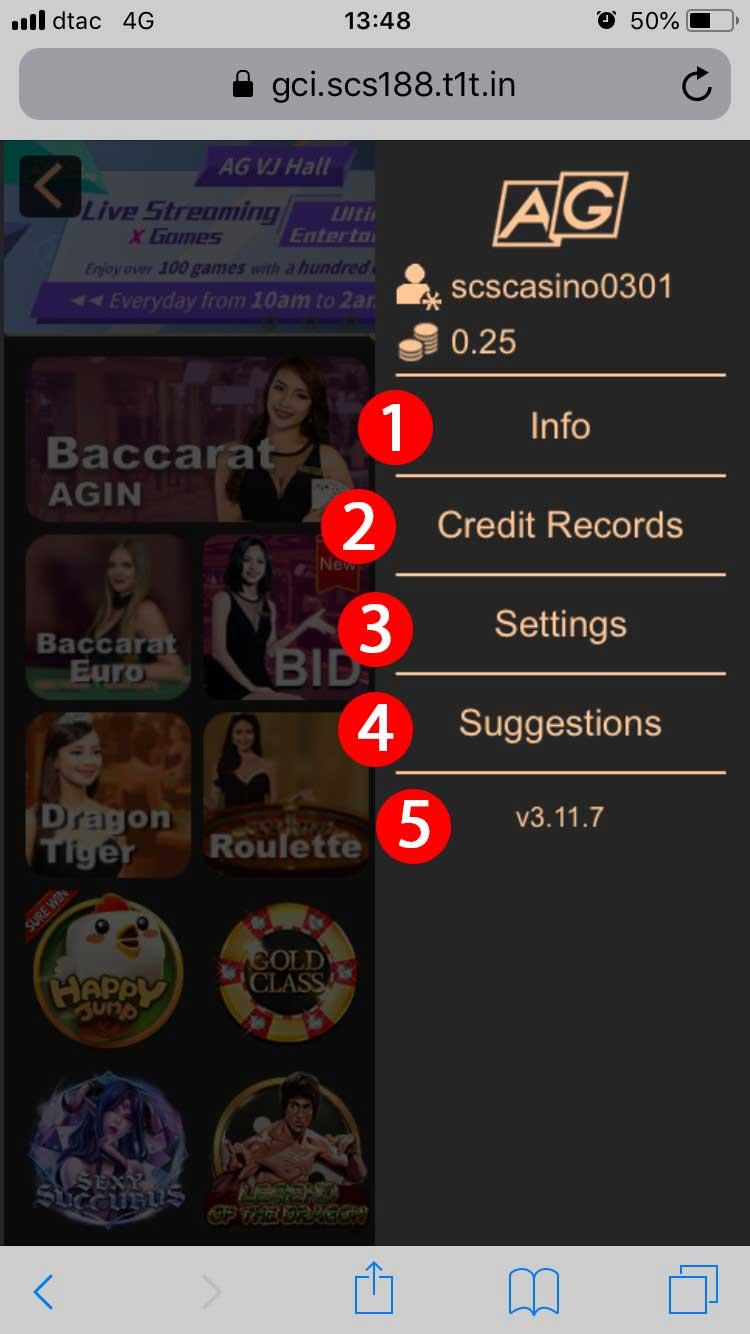 asia gaming toggle menu